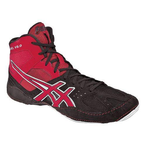 Mens ASICS Cael V6.0 Wrestling Shoe - Charcoal/Fire Red 10.5
