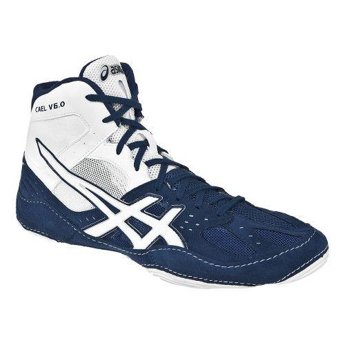 Mens ASICS Cael V6.0 Wrestling Shoe - Navy/White 10.5