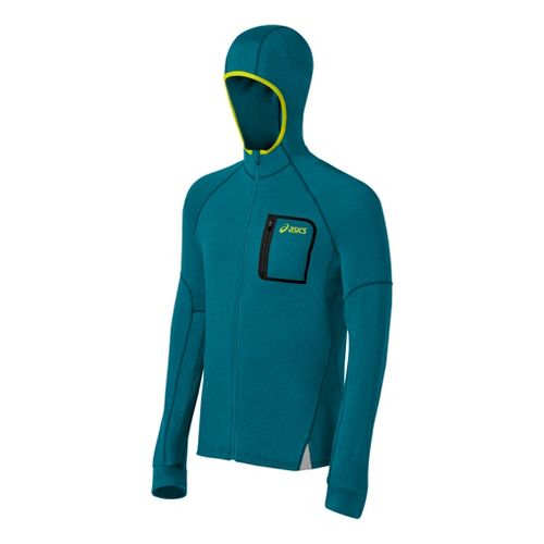 Mens ASICS FujiTrail Hoodie Warm-Up Hooded Jackets - Cool Teal Heather XL