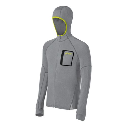 Mens ASICS FujiTrail Hoodie Warm-Up Hooded Jackets - Dark Grey Heather 2X