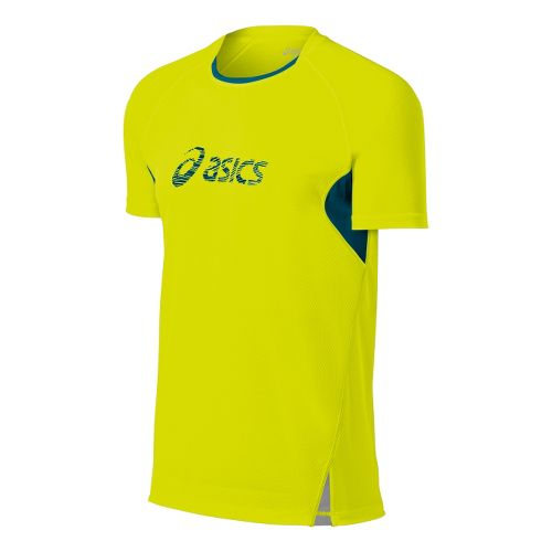Mens ASICS FujiTrail Graphic Short Sleeve Technical Tops - Electric Lime S