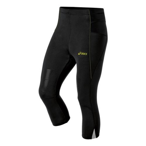 Mens ASICS FujiTrail Knee Fitted Tights - Performance Black/Electric Lime S