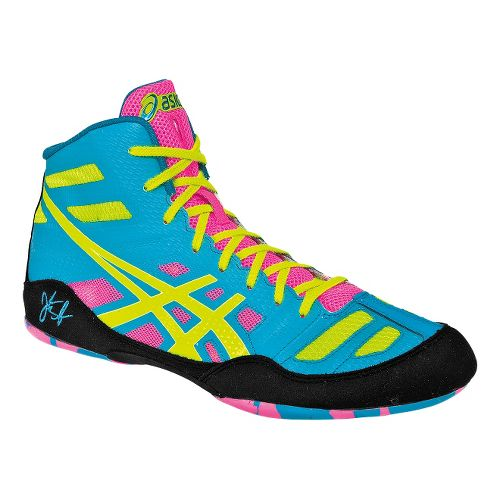 Mens ASICS JB Elite Wrestling Shoe - Teal/Flash Yellow 10.5