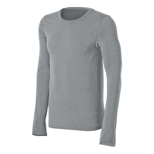 Mens ASICS ASX Seamless Long Sleeve No Zip Technical Tops - Heather Iron L