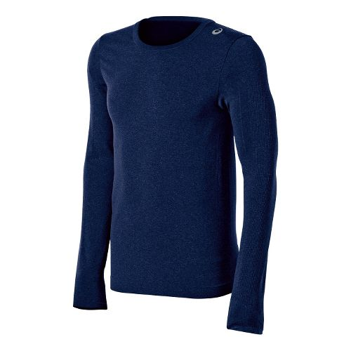 Mens ASICS ASX Seamless Long Sleeve No Zip Technical Tops - True Navy 2X