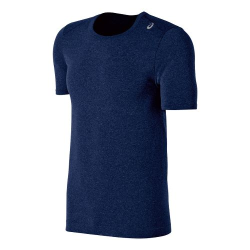 Mens ASICS ASX Seamless Short Sleeve Technical Tops - True Navy Heather XL