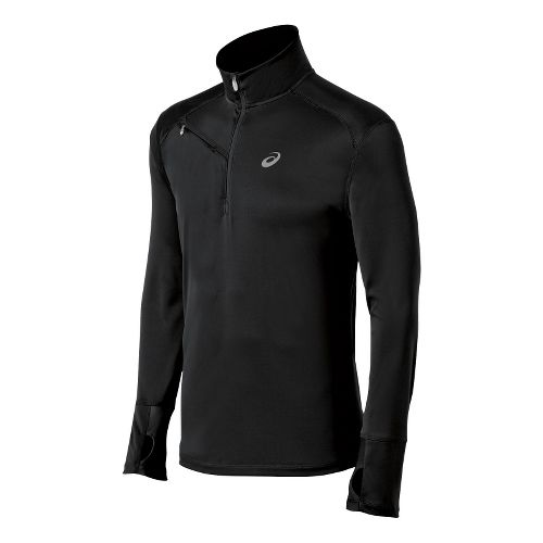 Mens ASICS Favorite Long Sleeve 1/2 Zip Technical Tops - Black XL