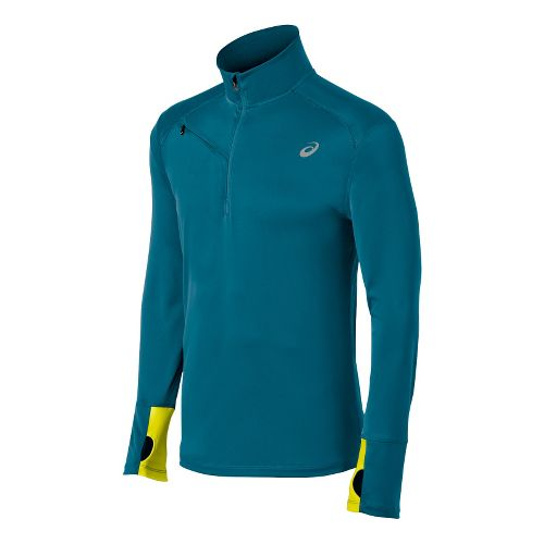 Mens ASICS Favorite Long Sleeve 1/2 Zip Technical Tops - Deep Sea M