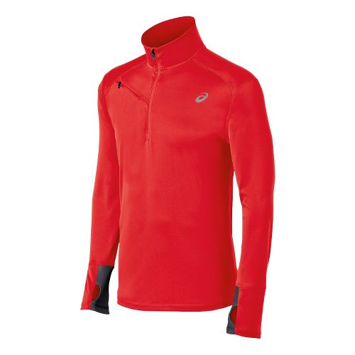 Mens ASICS Favorite Long Sleeve 1/2 Zip Technical Tops - Red Heat L