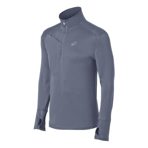 Mens ASICS Favorite Long Sleeve 1/2 Zip Technical Tops - Slate M