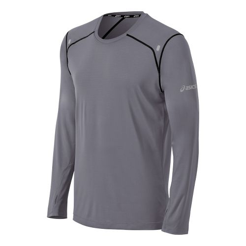 Mens ASICS PR Lyte Long Sleeve No Zip Technical Tops - Frost/Black XL
