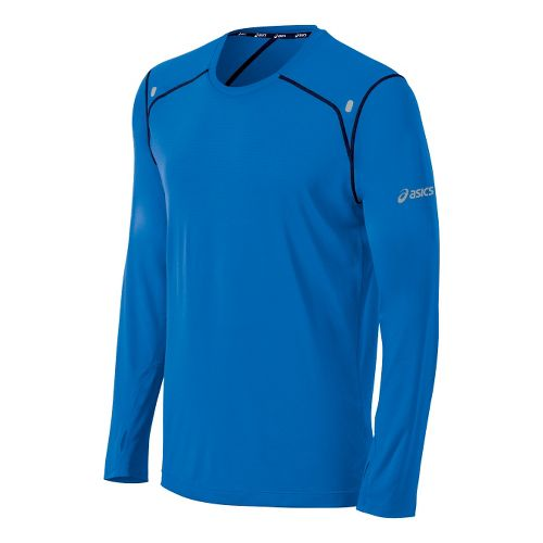 Mens ASICS PR Lyte Long Sleeve No Zip Technical Tops - Neon Blue/True Navy S ...