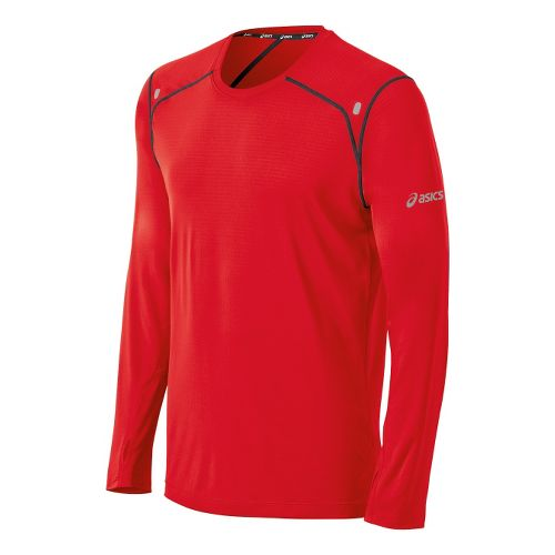 Mens ASICS PR Lyte Long Sleeve No Zip Technical Tops - Red Heat/Steel L