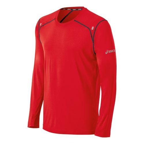 Mens ASICS PR Lyte Long Sleeve No Zip Technical Tops - Red Heat/Steel L