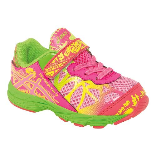 Kids ASICS Noosa Tri 9 TS Running Shoe - Pink/Apple Green 5