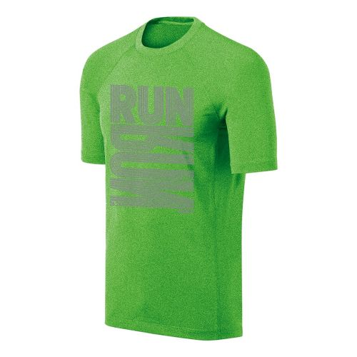 Mens ASICS Run Tech Tee Short Sleeve Technical Tops - Green Gecko L