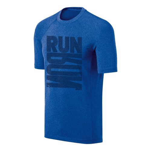 Mens ASICS Run Tech Tee Short Sleeve Technical Tops - New Blue/Heather XL