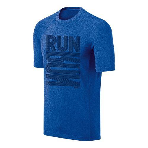 Mens ASICS Run Tech Tee Short Sleeve Technical Tops - New Blue/Heather XXL