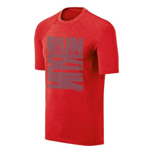 Mens ASICS Run Tech Tee Short Sleeve Technical Tops - Red Heat Heather L