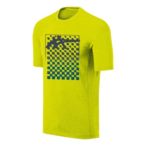 Mens ASICS Checkmate Tech Tee Short Sleeve Technical Tops - Electric Lime M