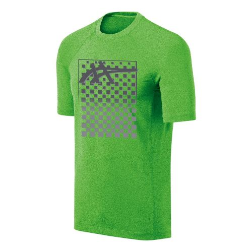 Mens ASICS Checkmate Tech Tee Short Sleeve Technical Tops - Green Gecko L