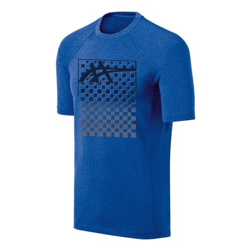 Mens ASICS Checkmate Tech Tee Short Sleeve Technical Tops - New Blue/Heather XXL
