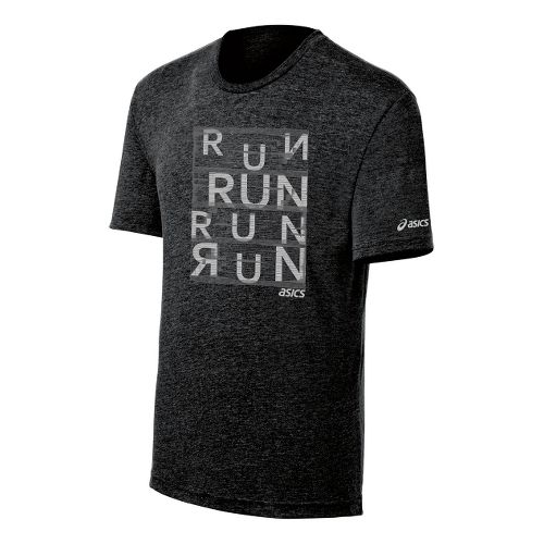 Mens ASICS Urban Run Tee Short Sleeve Technical Tops - Black Heather S
