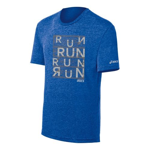 Mens ASICS Urban Run Tee Short Sleeve Technical Tops - New Blue/Heather XXL