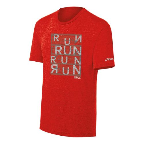Mens ASICS Urban Run Tee Short Sleeve Technical Tops - Red/Heather M