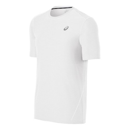 Mens ASICS All-Sport Stripe Short Sleeve Technical Tops - White L