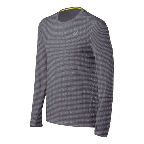 Mens ASICS All Sport Stripe Long Sleeve No Zip Technical Tops - Frost L