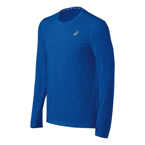 Mens ASICS All Sport Stripe Long Sleeve No Zip Technical Tops - New Blue L ...