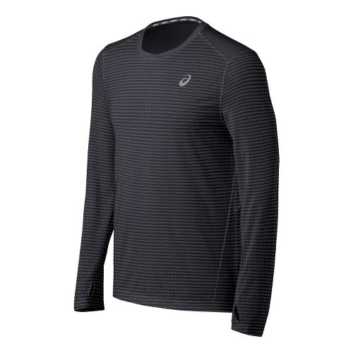 Mens ASICS All Sport Stripe Long Sleeve No Zip Technical Tops - Steel M