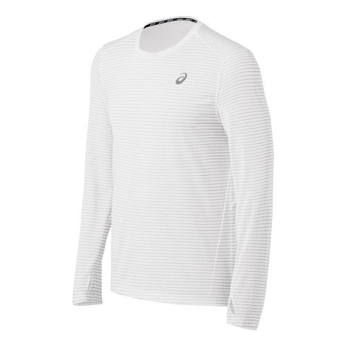 Mens ASICS All Sport Stripe Long Sleeve No Zip Technical Tops - White XL