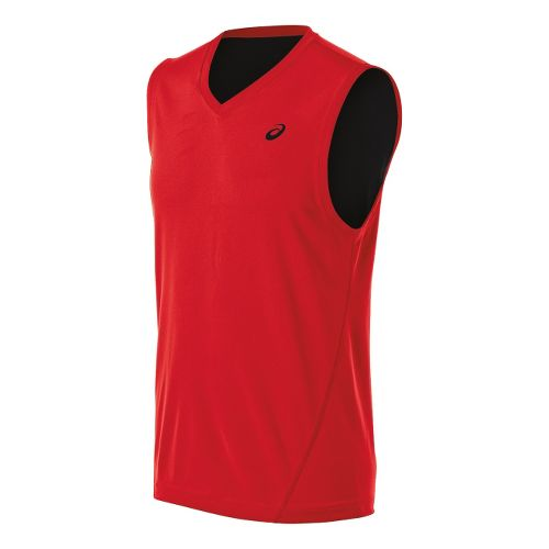 Mens ASICS Training Reversible Sleeveless Technical Tops - Red Heat/Black XL