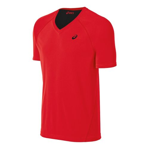 Mens ASICS Training Reversible Short Sleeve Technical Tops - Red Heat/Black XL