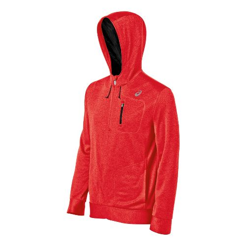 Mens ASICS All Sport Hoody Long Sleeve 1/2 Zip Technical Tops - Red Heat L ...