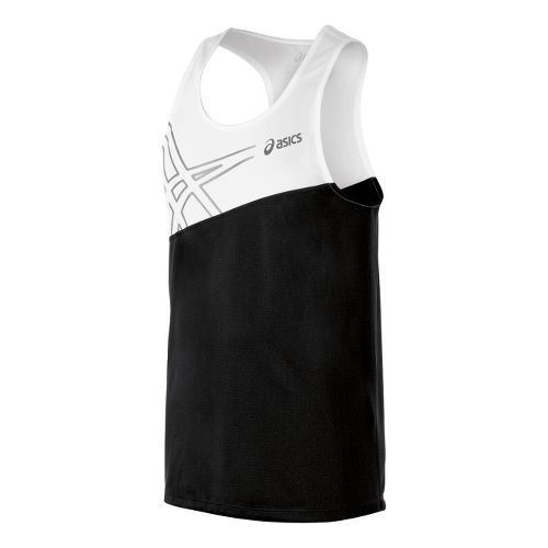 Mens ASICS Team Performance Track Singlets Technical Tops - Black/White XS