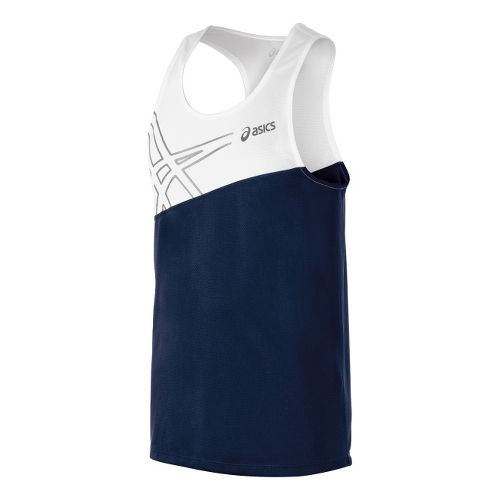 Mens ASICS Team Performance Track Singlets Technical Tops - Navy/White XL