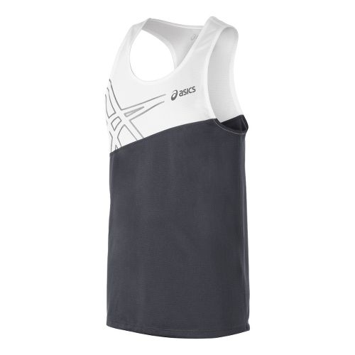 Mens ASICS Team Performance Track Singlets Technical Tops - Steel Grey/White M