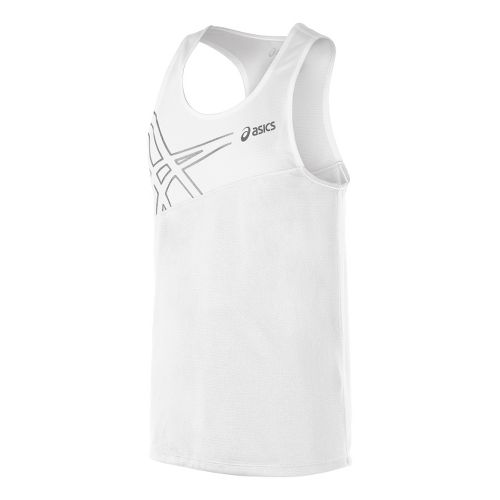 Mens ASICS Team Performance Track Singlets Technical Tops - White XS