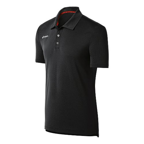 Mens ASICS Team Performance Tennis Polo Shirt Short Sleeve Technical Tops - Black S
