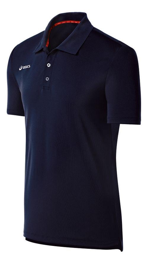 Mens ASICS Team Performance Tennis Polo Shirt Short Sleeve Technical Tops - Navy M