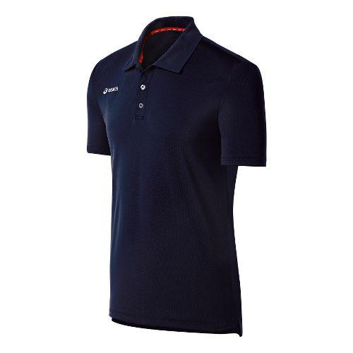 Mens ASICS Team Performance Tennis Polo Shirt Short Sleeve Technical Tops - Navy S