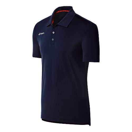 Mens ASICS Team Performance Tennis Polo Shirt Short Sleeve Technical Tops - Navy XXL