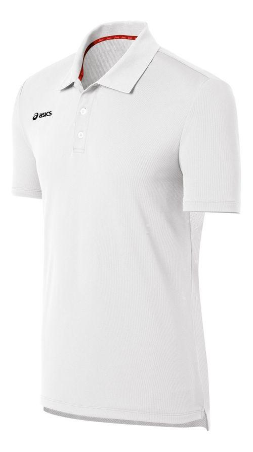 Mens ASICS Team Performance Tennis Polo Shirt Short Sleeve Technical Tops - White L