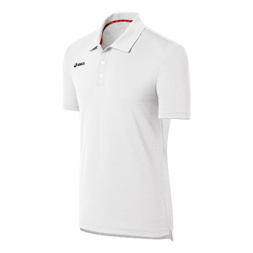 Mens ASICS Team Performance Tennis Polo Shirt Short Sleeve Technical Tops - White L