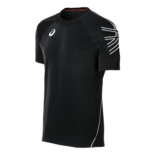 Mens ASICS Team Performance Tennis Jersey Short Sleeve Technical Tops - Black/White XXL