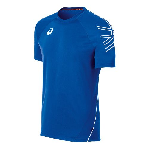 Mens ASICS Team Performance Tennis Jersey Short Sleeve Technical Tops - Royal/White XL