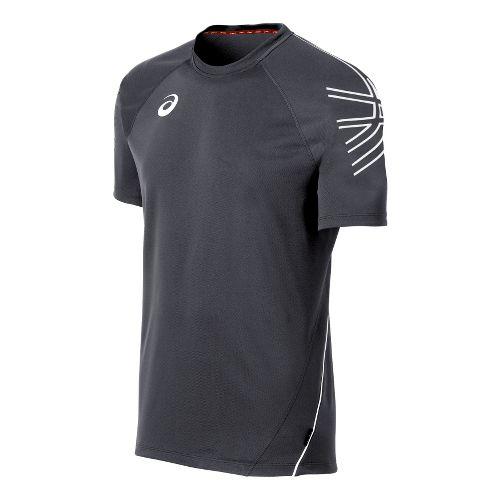 Mens ASICS Team Performance Tennis Jersey Short Sleeve Technical Tops - Steel/White S